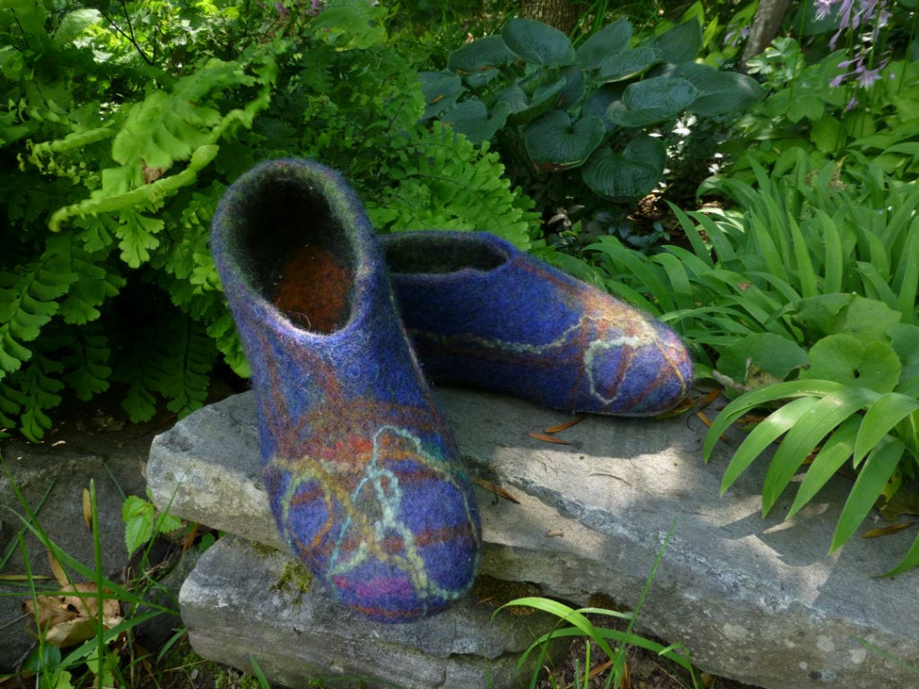 Wet felted wool slippers