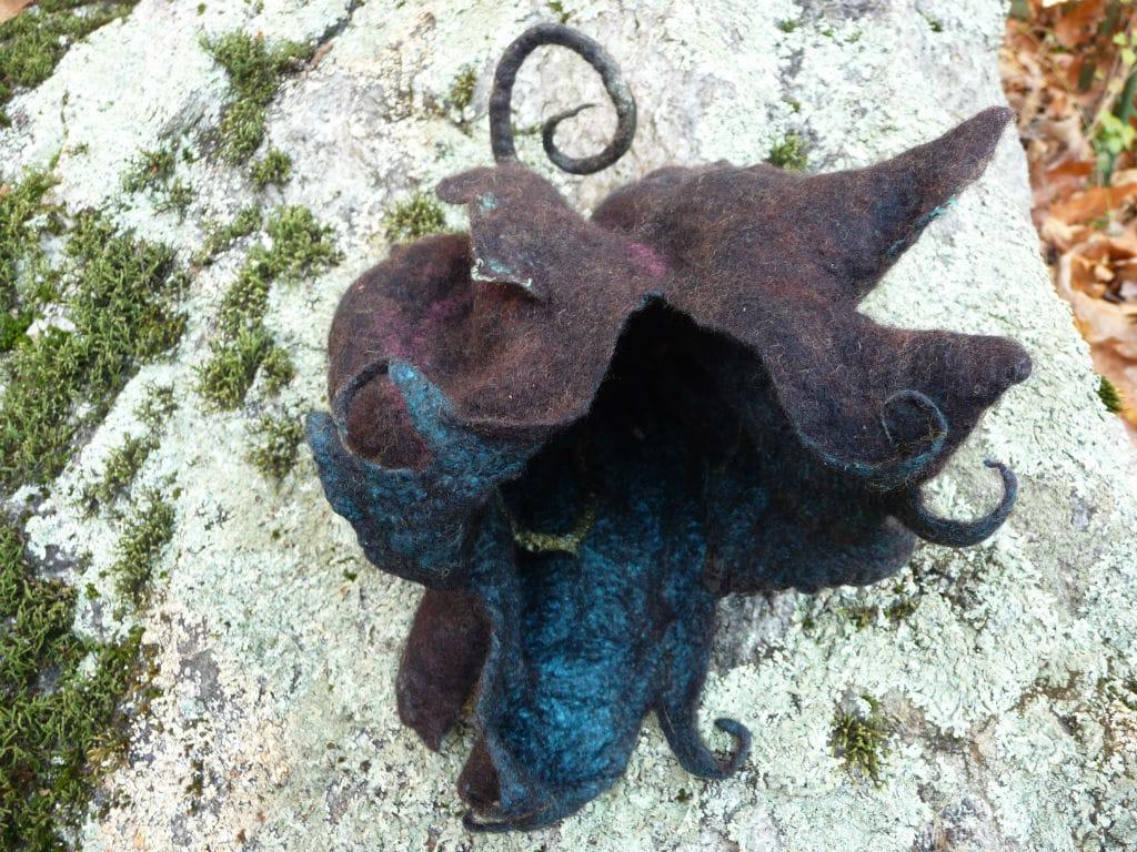 Sculptural felt of wool and silk