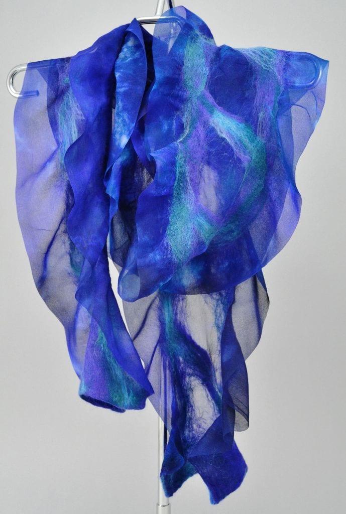 Hand-dyed silk and merino wool