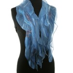 Blue Silk Nuno felted scarf