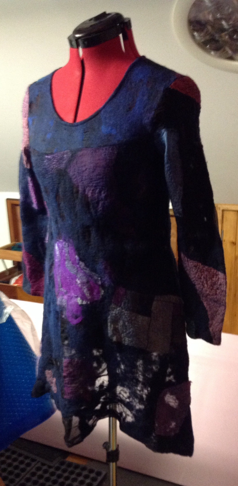 Nuno felted with merino and silk fiber.