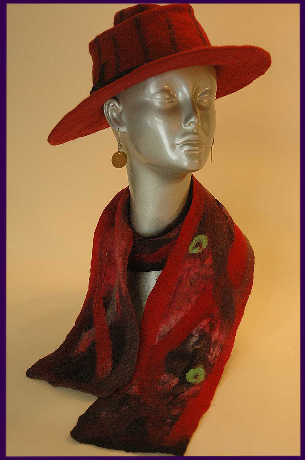 Broad brimmed hat & nuno felted scarf.