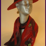 Broad brimed hat and nuno felted scarf.