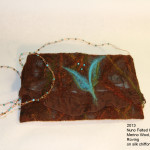 Felted clutch- brown and turq