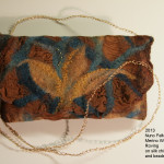 Nuno felted clutch brown and teal