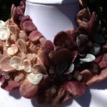 "Necklace ""Sugar Plum"". Hand dyed Habotai Silk, Merino wool. Nuno felt & Shibori"