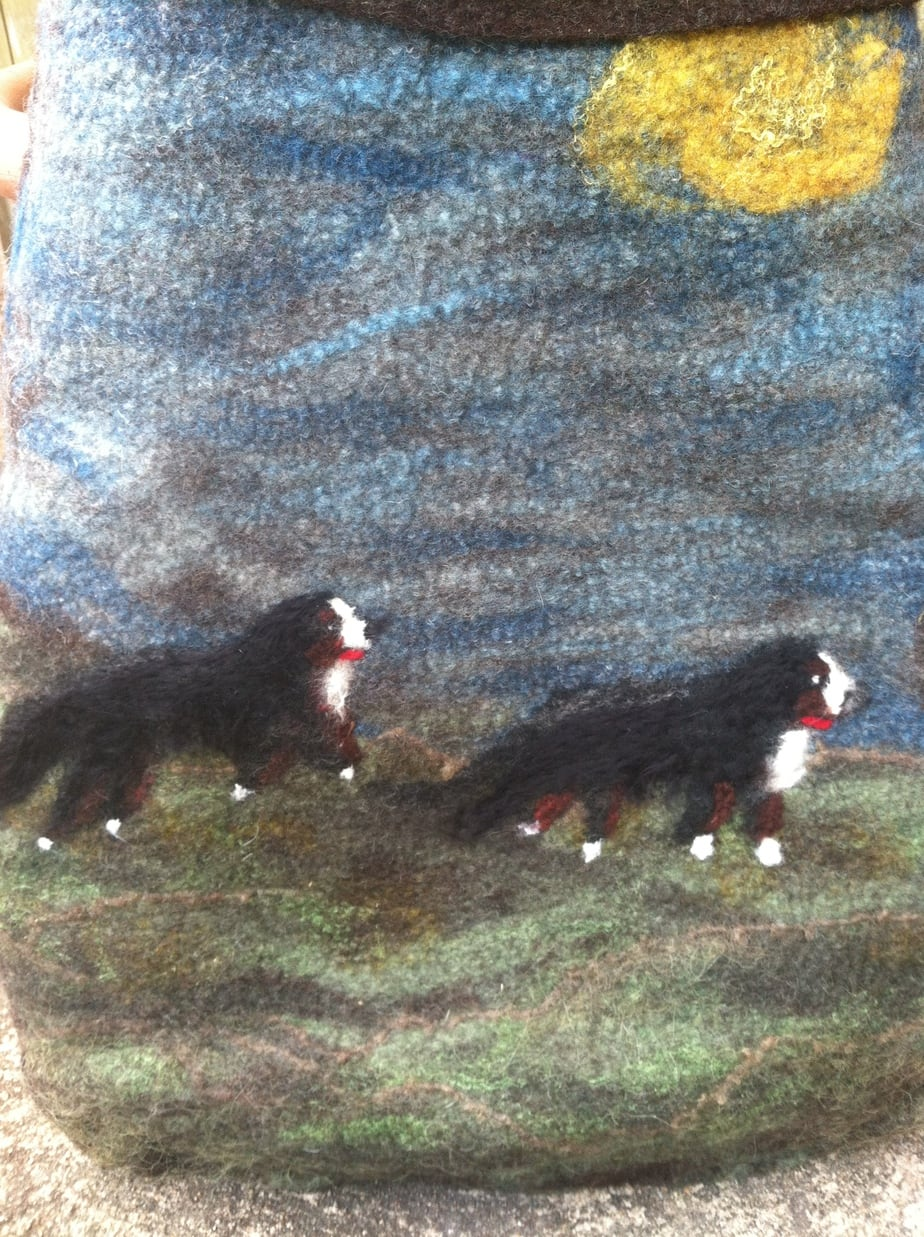 Custom Bernese Felted Bag for North American Cancer Fundraiser