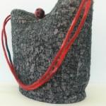 Linen & Merino Gray Bucket Handbag