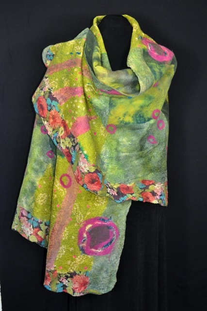 Nuno felted shawl in summer meadow colors