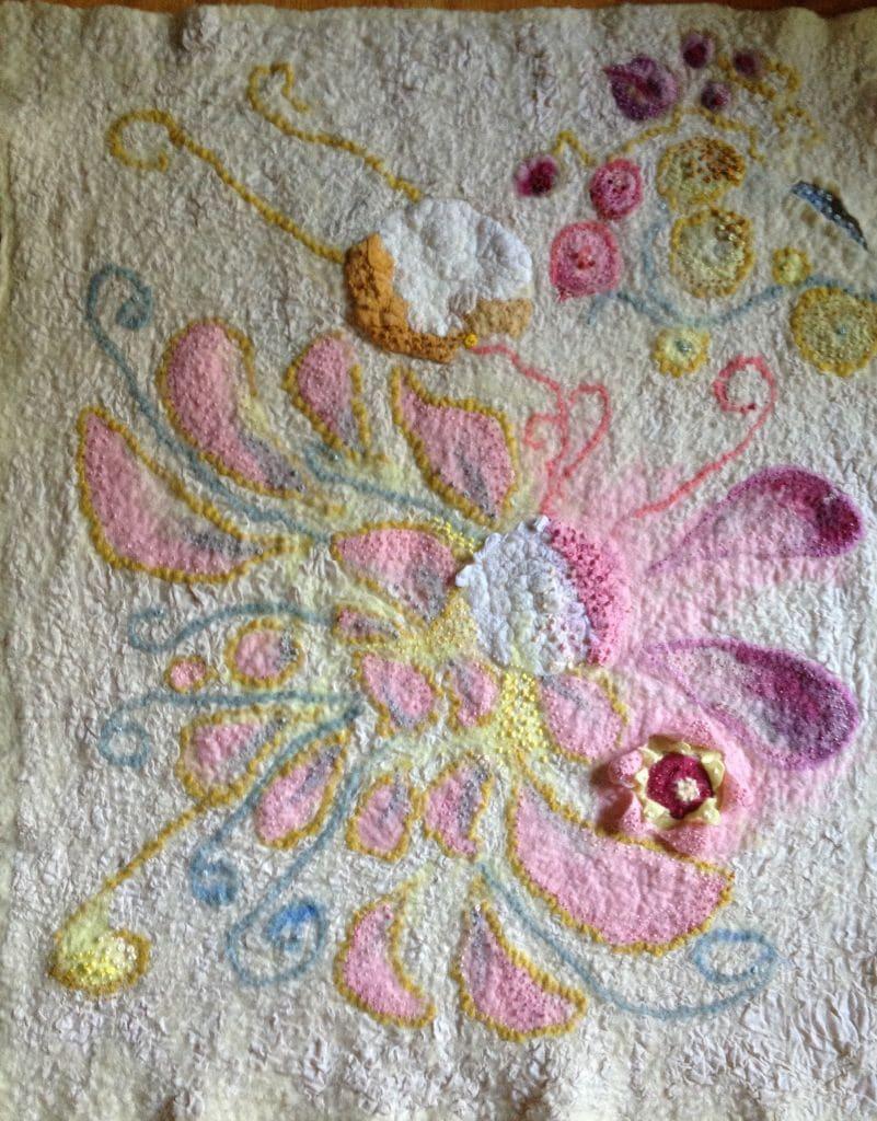 Wall Hanging. Nuno felt, 2 sided. Merino wool, cotton canvas, Silk. Shibori manipulated surface. Embroidery.
