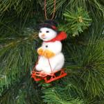 Sledding Snowman Ornament