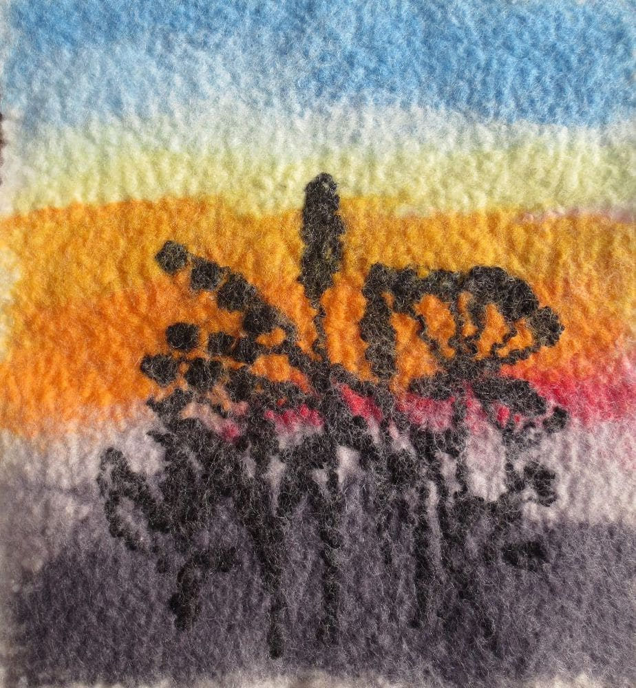 Sunset. Fiber Art. 8 x 9 inches