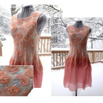 """Peaches and Roses"" Nuno felt dress."