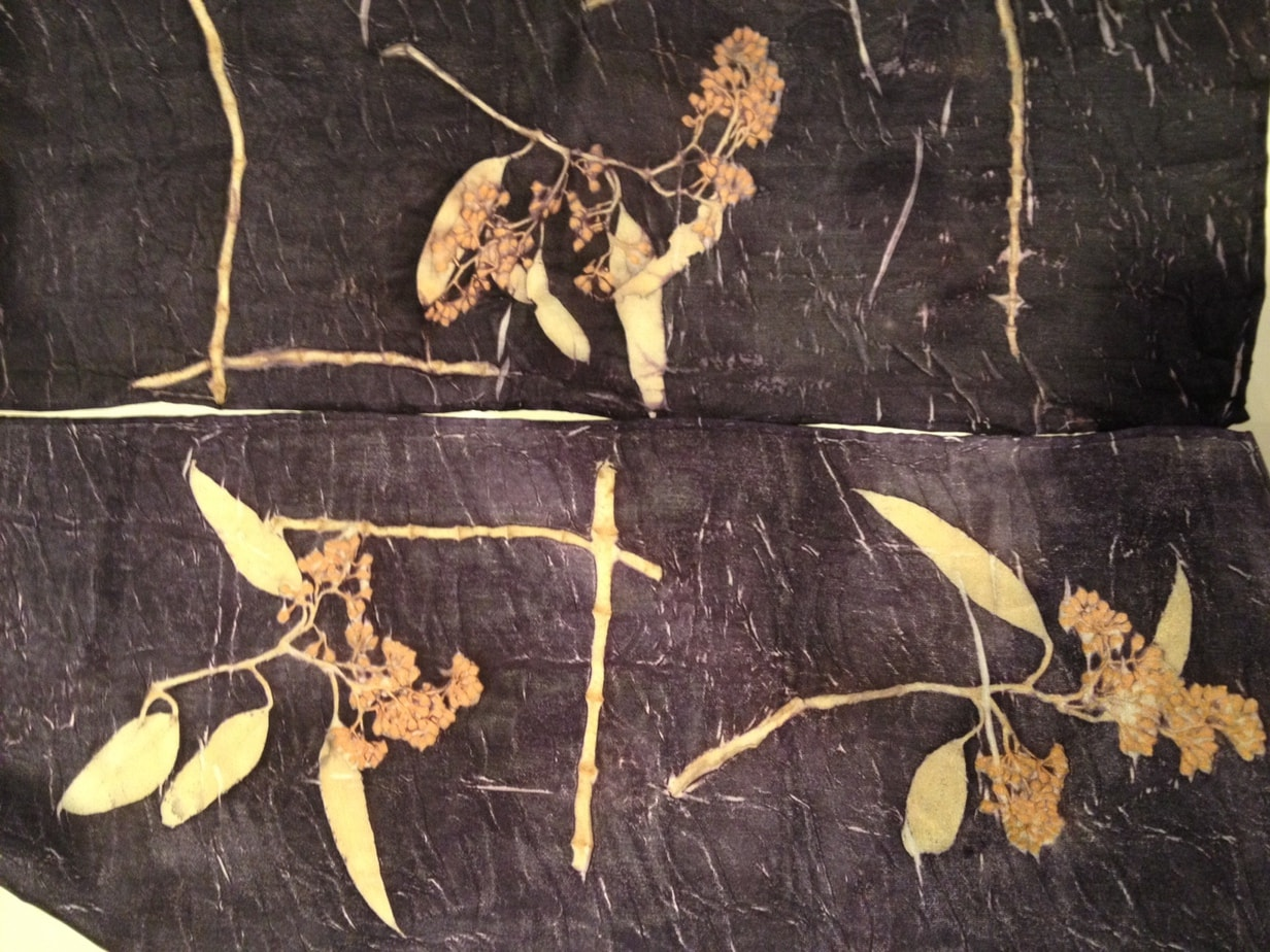 Silk Habotai with Eucalyptus prints.