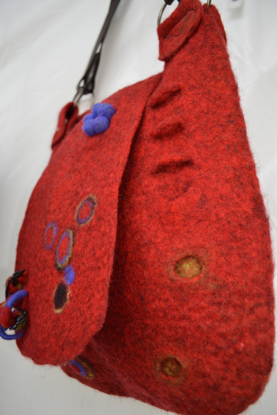 Red heather wool felt bag