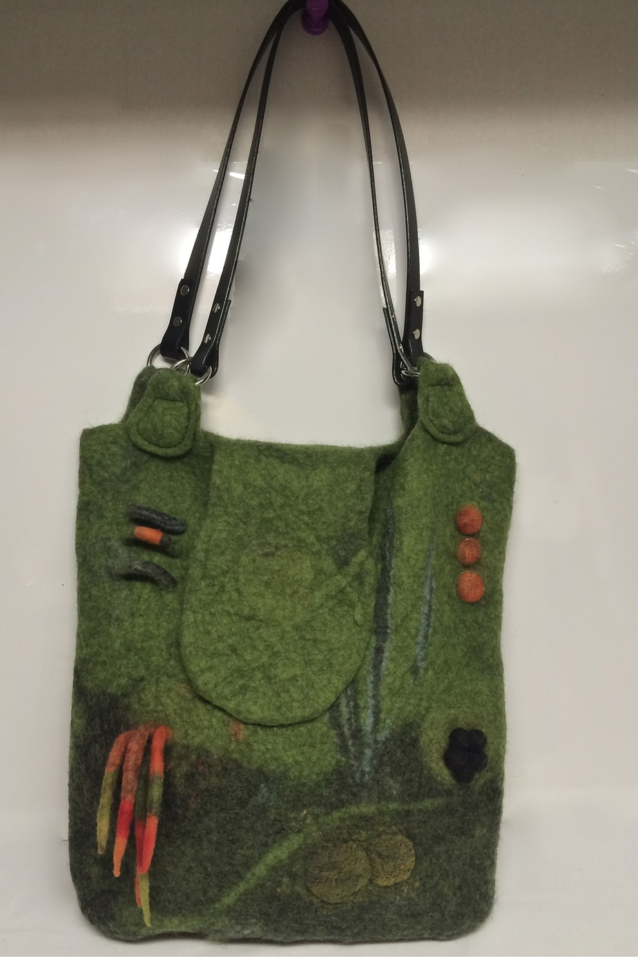 Green heather wool felt bag