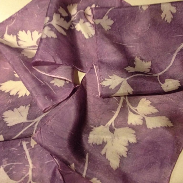 Silk scarf with parsley prints.