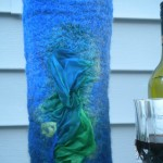 Blue wine tote bag
