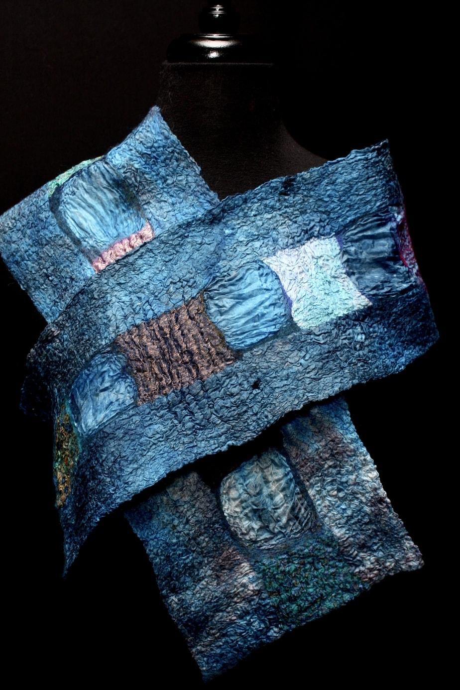 Hand-dyed habotai silk, merino wool, recycled sari silks/hand-felted