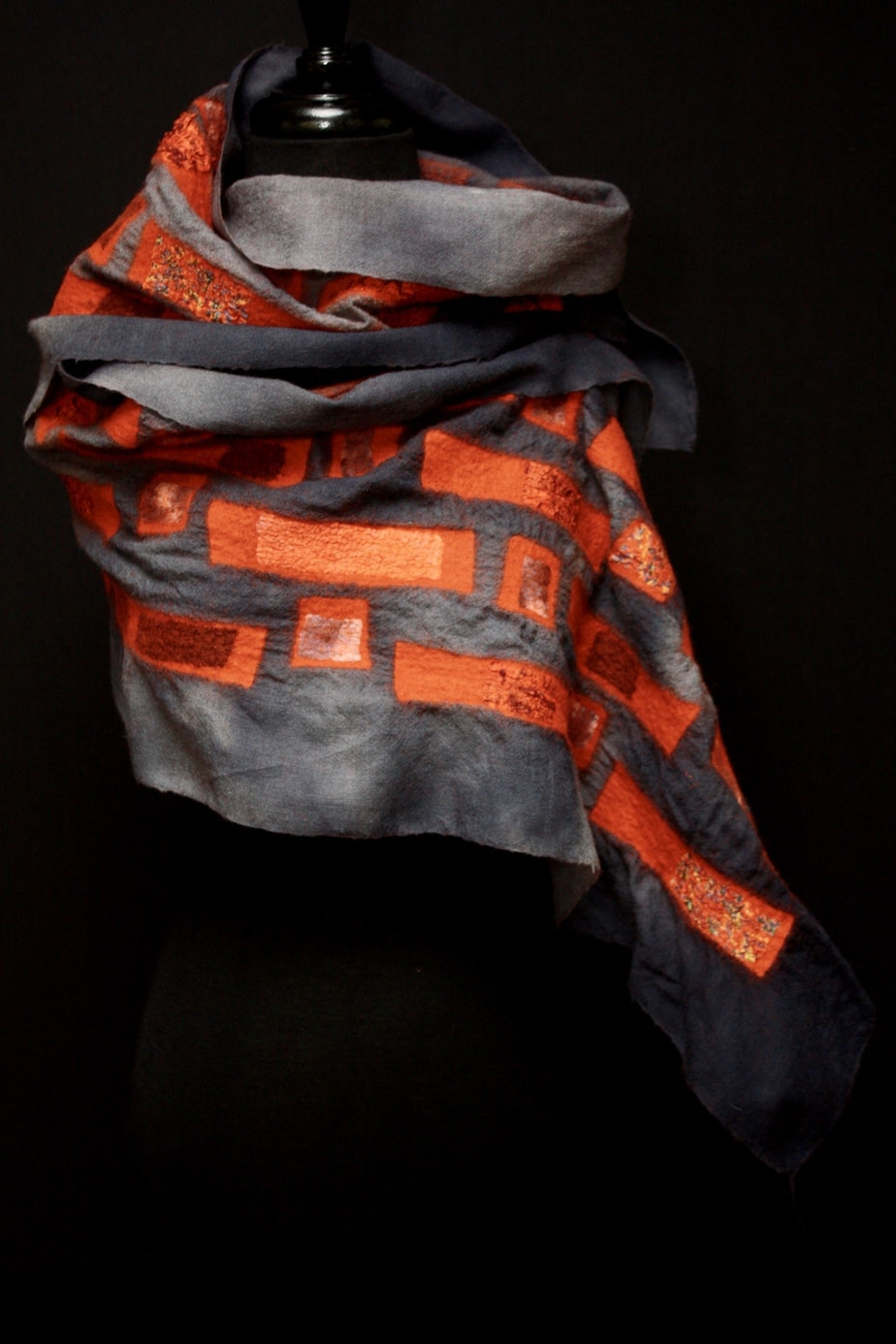Hand-dyed wool examine with merino wool and silk
