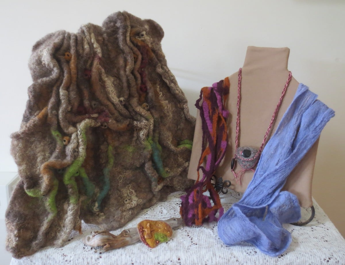 Skinny scarves, amulet bag, brooch and wall hanging (children of gods)