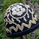 Merino wool and beaded silk hat