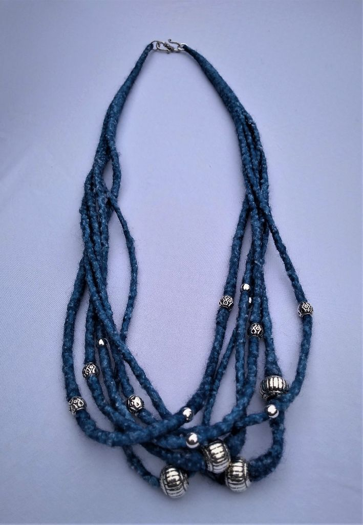 Hand-dyed 29 inch Merino Wool and Tencel Necklace with Silver Beads - 95.00