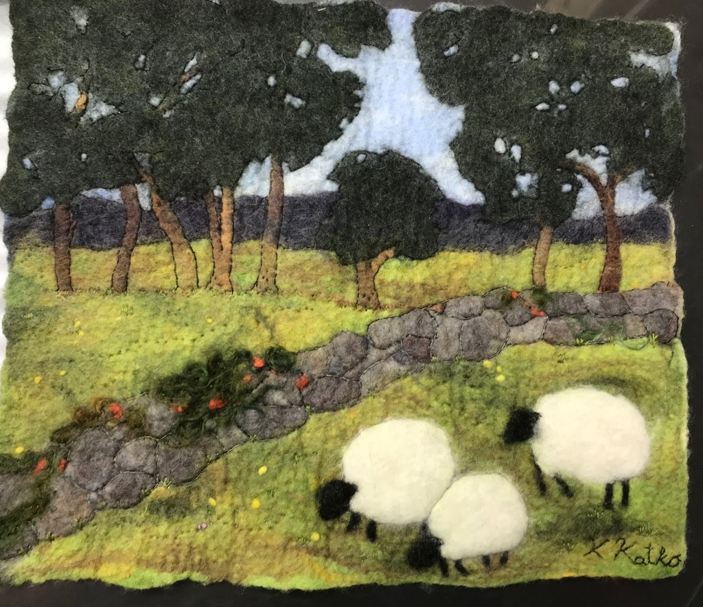 Wet felted Painting
