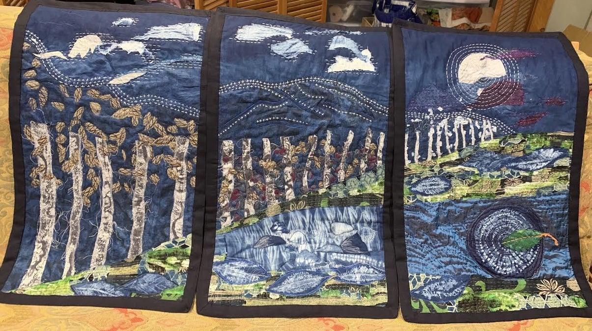 Indigo, shibori, fabric quilt, boro stitching
