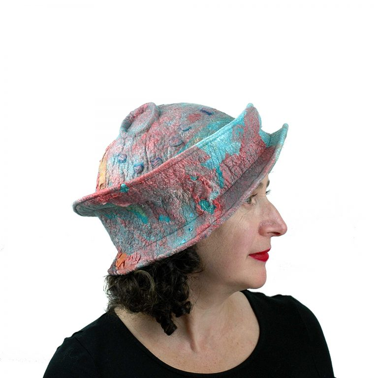 Juliane-Gorman_felted-wearable-art-hat-coral-and-turquoise